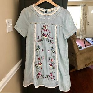 Umgee Blue Embroidered Babydoll Dress